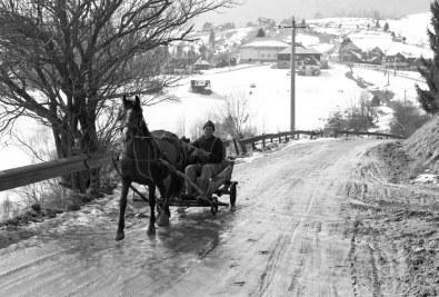 Main village road during winter